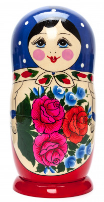 230 mm Dark Blue Semenovskaya hand painted Wooden Matryoshka Doll 9 pcs (by Ivan Studio)