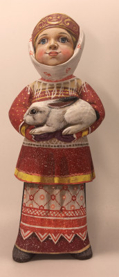 22cm Russian Girl in a Winter Dress with Rabbit hand painted by Karpova Nadezda