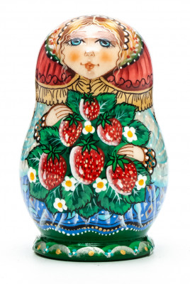 70 mm Girl with Strawberries hand painted wooden Matryoshka 5 pcs (by Vasily Crafts)