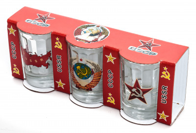 50 ml USSR decal Faceted Shot Glass set of 3 pcs (by AKM)