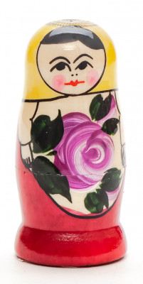 70 mm Yellow Head Semenovskaya handpainted wooden Matryoshka Doll 3 pcs (by Ivan Studio)