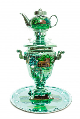 Green Winter Landscape Hand Painted Electric Samovar Kettle with Teapot and Tray