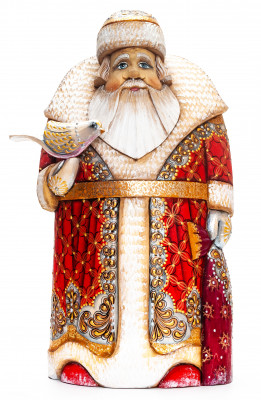 260 mm Santa with a Bird Carved Wood Hand Painted Collectible Figurine  (by Natalia Nikitina Workshop)