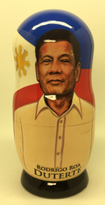 180 mm President of Philippines Rodrigo Duterte hand painted Matryoshka Doll 5 pcs (by Konstantin)