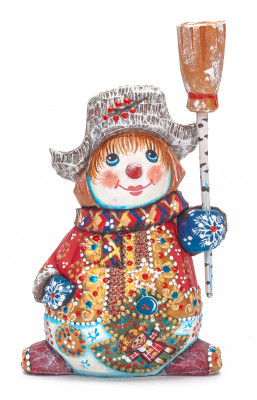 170 mm Snowman hand carved and painted wooden figurine (by Natalia Workshop)