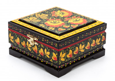 120x115 mm Khokhloma Painting Jewellery Wooden Box