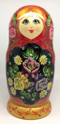 200 mm Summer Flowers hand painted Russian Matryoshka Doll 5pcs (by Summer Shine)