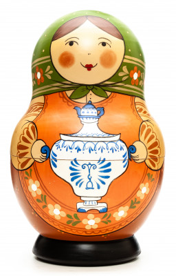 190 mm Mistress with Samovar hand painted Traditional Russian Wooden Matryoshka round doll 10 pcs (by Igor Malyutin)