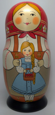 250 mm Mother with Daughter hand painted Traditional Russian Wooden Matryoshka doll 10 pcs (by Igor Malyutin)