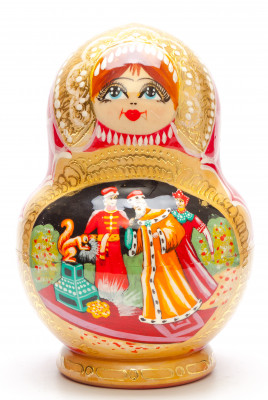 160 mm The Tale of Tsar Saltan handpainted Wooden Matryoshka round Doll 5 pcs (by Valery Crafts)