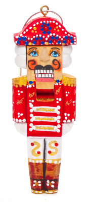 120 mm The Nutcracker hand carved and painted wooden Christmas Tree Ornament (by Nikitina Crafts)