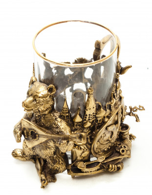Moscow Cast Brass Tea Glass Holder with Faceted Glass (by Kolchugino)