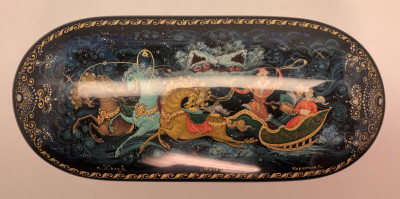 125x55 Russian Winter Troyka hand painted by Koryakin on jewelry papier-mache box in Kholuy (by Pavel Studio)