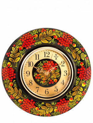 The Spring Wall Clock hand painted wooden Khokhloma (by Golden Khokhloma)