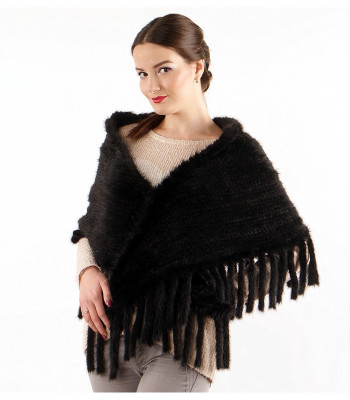 50cm Black Knitted Mink Triangular Stole