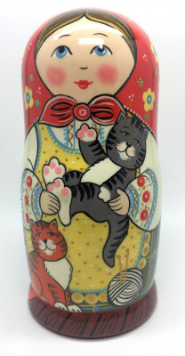 180 mm Russian Girl plays with Kitten hand painted wooden Matryoshka doll 5 pcs (by A Studio)