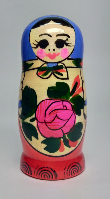 95 mm Dark Blue Head Semenovskaya handpainted wooden Matryoshka Doll 4 pcs (by Ivan Studio)