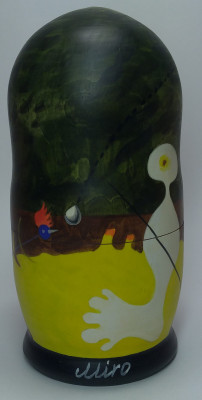 18 0mm The Person Throwing a Stone at a Bird by Miro hand painted on wooden Matryoshka doll 5 pcs (by Alexander Famous Paintings Studio)