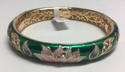 Lotus Green Bracelet with Enamel (by AKM Gifts)