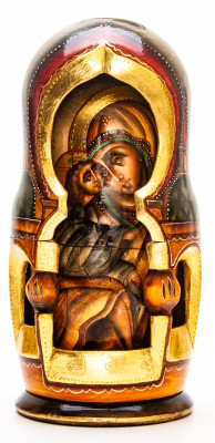 220 mm Russian Orthodox Icon hand painted on carved wooden Matryoshka doll 7 pcs (by Konstantin Studio)