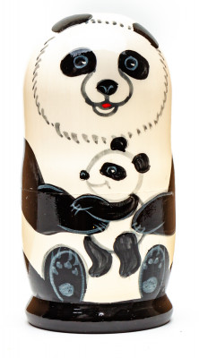 110mm Panda Hand Painted Matryoshka Doll 5 pcs (by Konstantin Crafts)