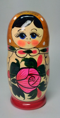 95 mm Orange Head Semenovskaya handpainted wooden Matryoshka Doll 4 pcs (by Ivan Studio)