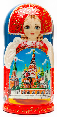 180 mm Saint Basil Cathedral handpainted Wooden Matryoshka Doll 5 pcs (by Sheherazade)