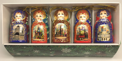 Moscow Churches Matryoshka Dolls Christmas Ornaments Set of 5 pcs (by Ilya Studio)