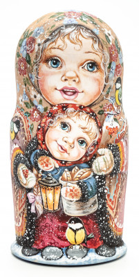 170 mm Girls and boys playing outside before Christmas miniature hand painted wooden Matryoshka doll 7 pcs (by Nadezda Karpova Studio)