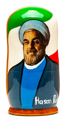 120 mm Hassan Rouhani Handmade wooden Matryoshka Nesting Doll 5 pcs (by 3A Studio)