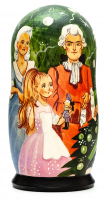 180 mm Nutcracker hand painted on wooden Matryoshka doll 5 pcs (by Alexander Famous Paintings Studio)