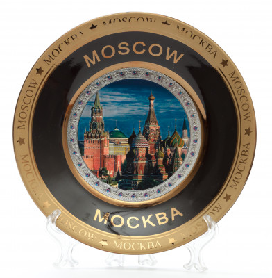 160 mm Spasskaya Tower and Snt Basil's Cathedral Ceramic Souvenir Plate (by Sergey Factory)