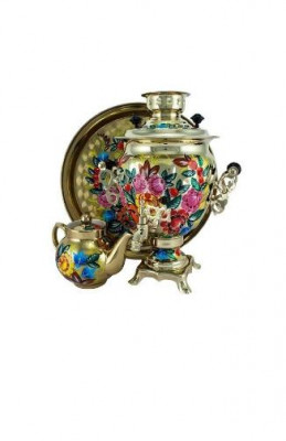 Country Flowers Hand Painted Electric Samovar Kettle with Teapot and Tray