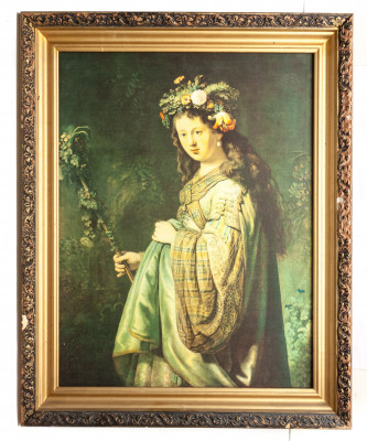565x700 mm Flora by Rembrandt printed on Canvas painting (by Skazka)