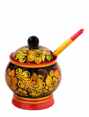 110x90 mm Khokhloma hand painted wooden Sugar Bowl with Spoon (by Golden Khokhloma)