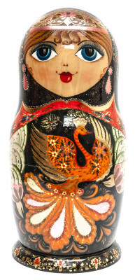 410 mm The Firebird hand painted on Wooden Matryoshka doll 27 pcs (by Valeria Crafts)