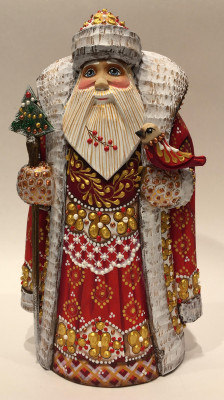 Hand Carved and Painted Santa Claus vs Bird