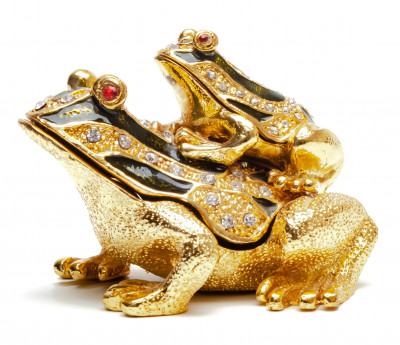 60 mm Little Frog Sitting on Mom's Back Faberge Jewelry Box