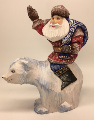 160 mm Santa Claus rides on Polar Bear hand painted wooden statue (by Sergey Christmas Workshop)