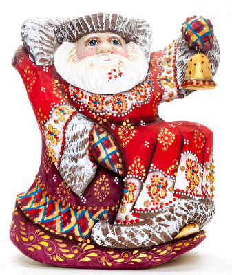 170 mm Santa with a Bell Carved Wood Hand Painted Collectible Figurine  (by Natalia Nikitina Workshop)
