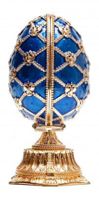115 mm Blue Easter Egg with the Crown and Clock
