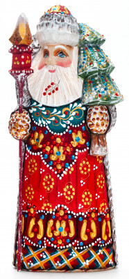 210 mm Santa with a Magic Staff and a Christmas Green Tree handpainted Wooden Carved Statue (by Natalia Nikitina Workshop)