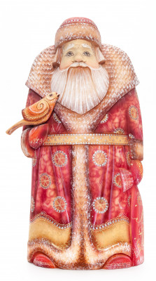 260 mm Santa Claus with a Bag and a Bird arved Wood Hand Painted Collectible Figurine  (by Natalia Nikitina Workshop)
