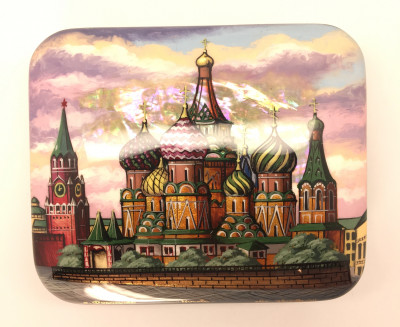 110 x 90 mm Moscow Winter hand painted lacquered box from Fedoscino (by Mihail Studio)