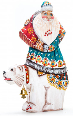 180 mm Santa with a Bag Riding the Bear handpainted Wooden Carved Statue (by Natalia Nikitina Workshop)