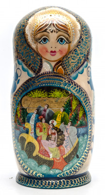 260 mm Russian Fairytale handpainted Wooden Matryoshka Doll 10 pcs (by Valery Crafts)