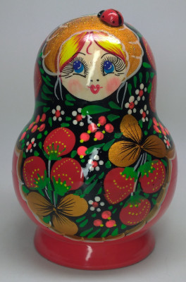 120 mm Ladybug Khokhloma Patterns Hand Painted Matryoshka Doll 10 pcs (by Victor Maidan)