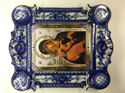 Vladimirskaya God Mother Icon Gzhel (by Marina Gzhel Workshop)