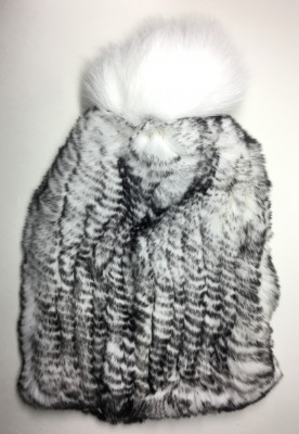 Cross Rabbit Hair Knitted Women Hat (by Skazka Furs)