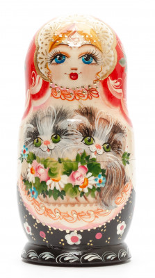 150 mm Girl with Kittens hand painted on Wooden Matryoshka doll 5 pcs (by Valeria Crafts)